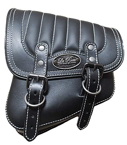 1fe651459602 Amazon.com  La Rosa Harley-Davidson All Softail Models Left Side Solo  Saddle Bag Swingarm Bag Black w White Thread Tuk n Roll  Automotive