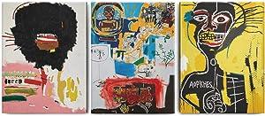 ALICRKP 3 Panels Wall Art Painting Jean Michel Basquiat Graffiti Wax 1984 Canvas Art Prints Bar Decor