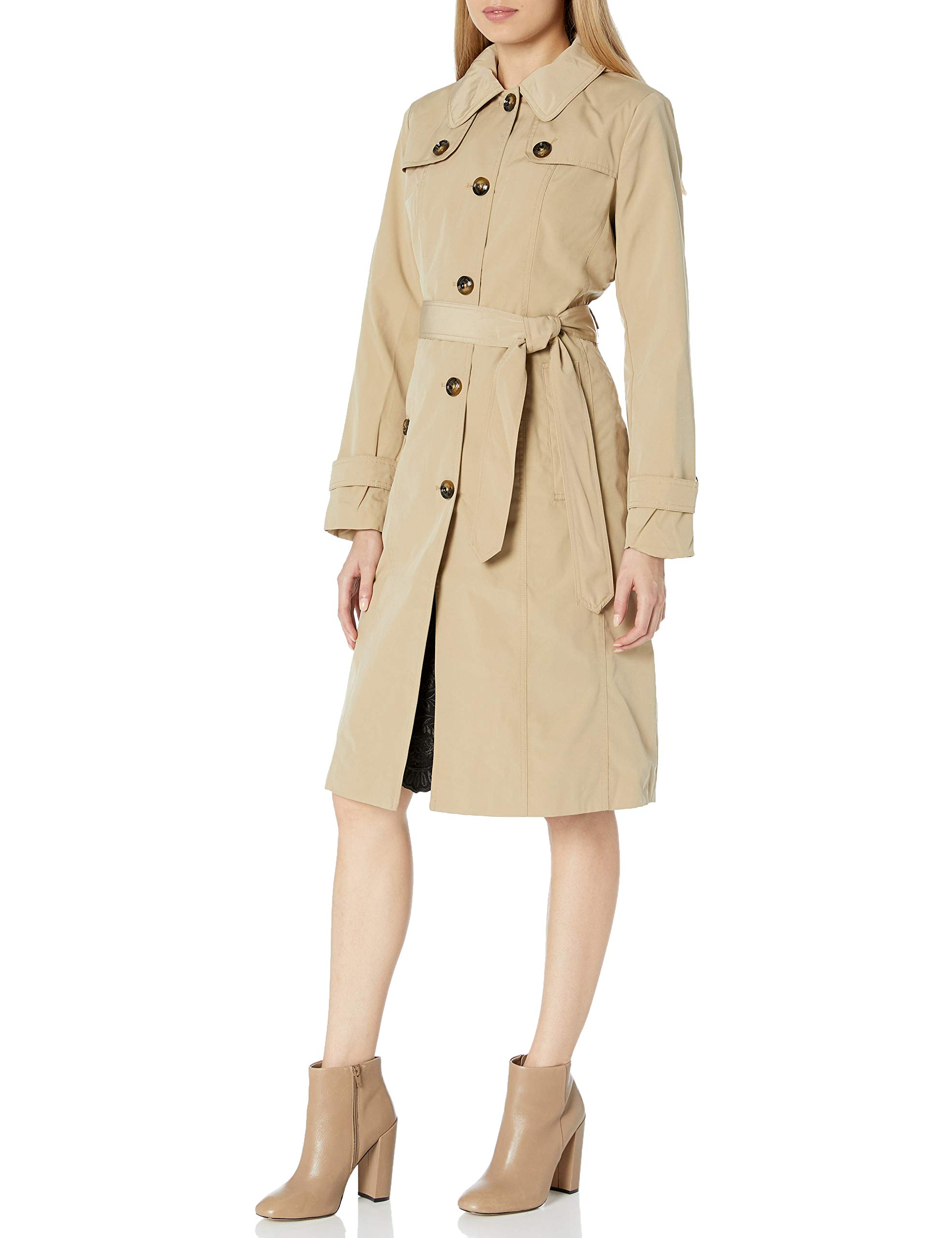 London Fog Women's Single Breasted Belted Trench with Hood, British Khaki, Medium by London Fog