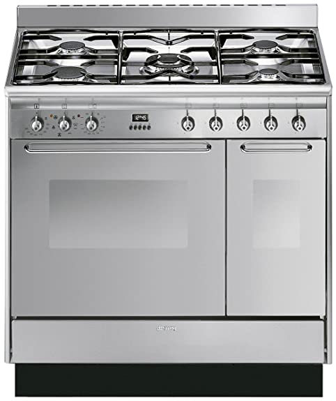 Smeg CC92MX9 Cucina Double Cavity 90cm Dual Fuel Range Cooker ...