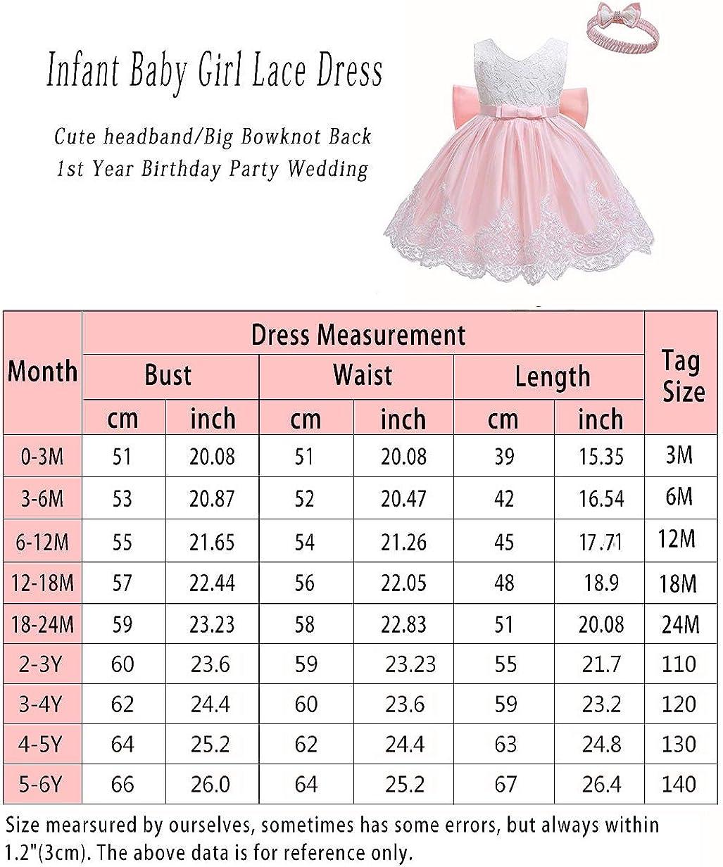 LZH Vestido de Encaje para Ni/ñas Beb/és Vestidos de Fores de Bowknot Concurso de Bodas Bautizo Bautizo Vestido de Tut/ú 0-24 Meses