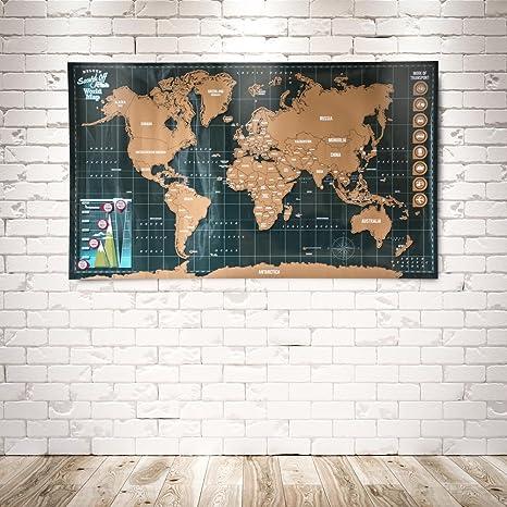 Mapa del mundo para rascar: Amazon.es: Oficina y papelería