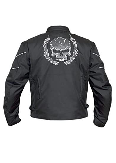 Gallanto Mens Flaming Skull Armored Black Textile Motorcycle Biker Jacket