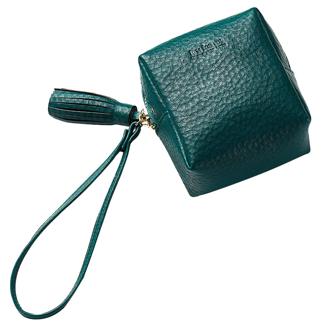 FEMAROLY Geunine Leather Female Handbags Skull Wallet Large-capacity Coin Pokect Cute Mini Purse With Wrist Strap Credit card Clutch for Women and Girls Dark Green