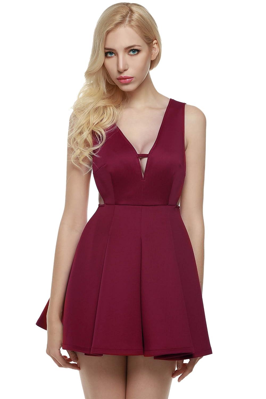 Zeagoo Damen Tiefer V-Ausschnitt Ärmellos Plissee Kleid Cocktailkleid Partykleid Skaterkleid Kurz Mini