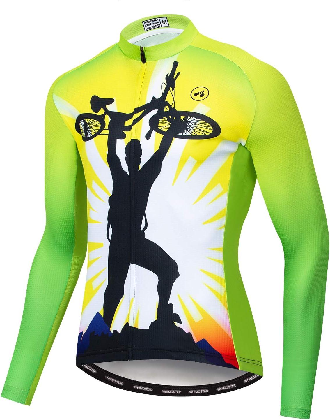 Weimostar - Camiseta de manga larga para hombre, diseño de equipo de MTB, para hombre, talla S-XXXL, transpirable, secado rápido, bolsillo