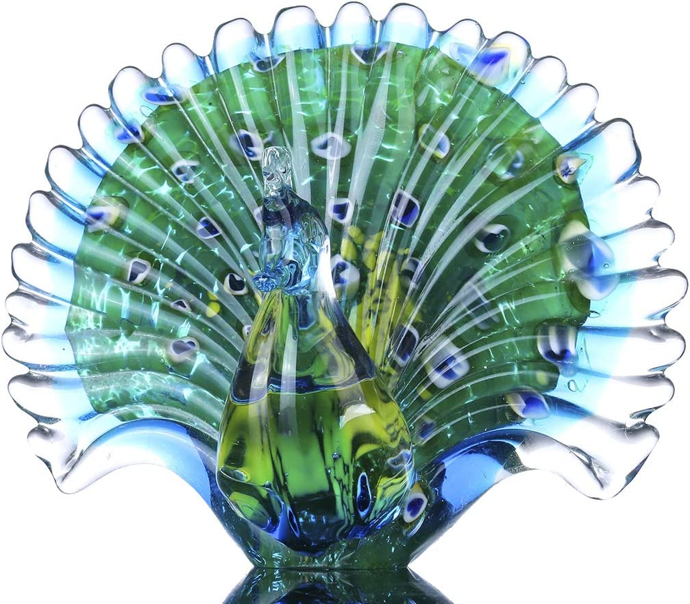 Crystalsuncatcher Hand Blown Colorful Peacock Art Glass Table Top Sculpture Room Decor (Peacock)