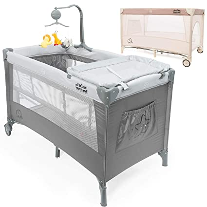 newest a3f2c a6012 all Kids united Baby Travel Cot Deluxe - Baby Center Travel Bed Children's  Play Pen with Changing Mat; Grey