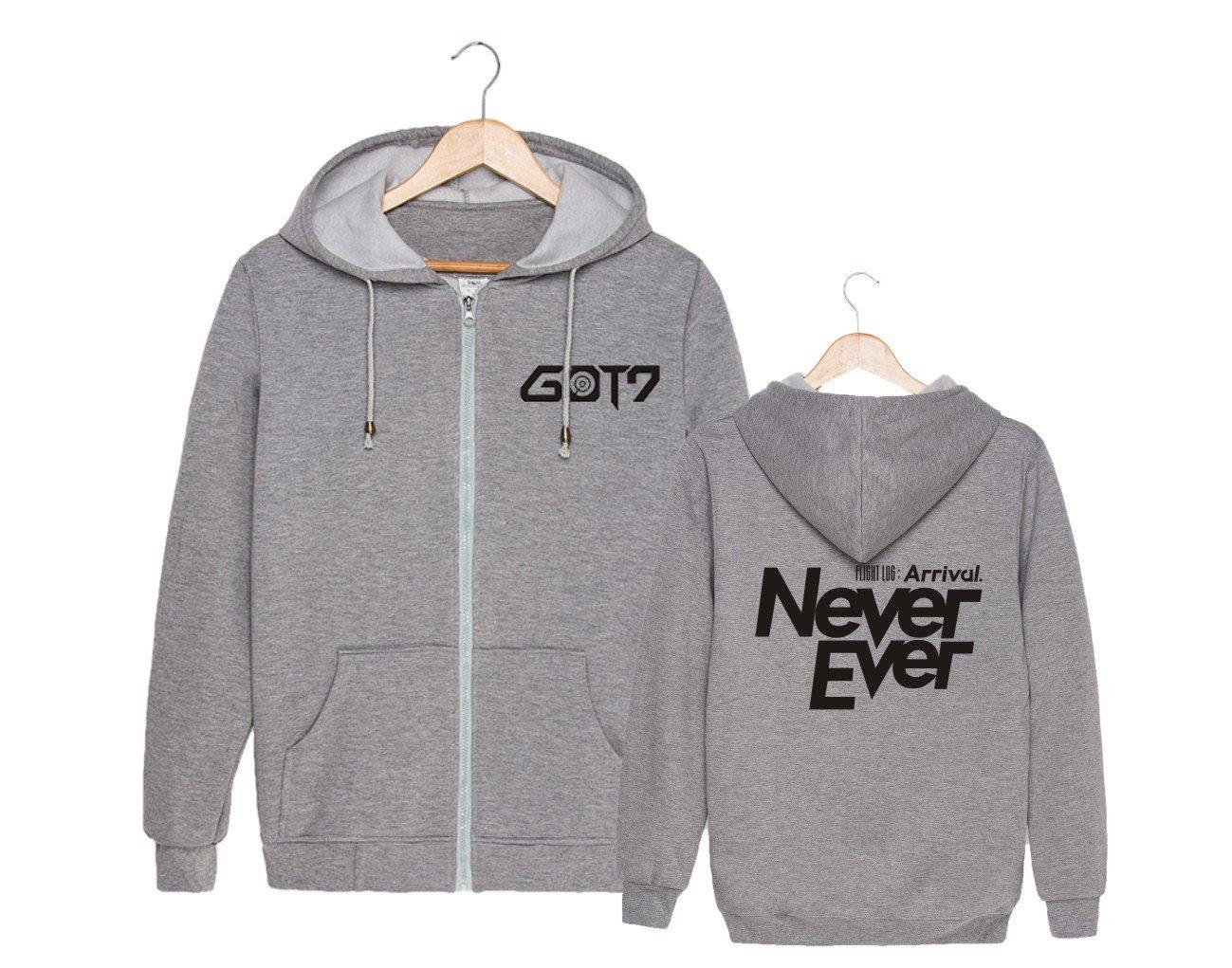 ALLDECOR Kpop GOT7 Never Ever Cotton Pullover Coat Unisex Zipper Hoodie Sweater