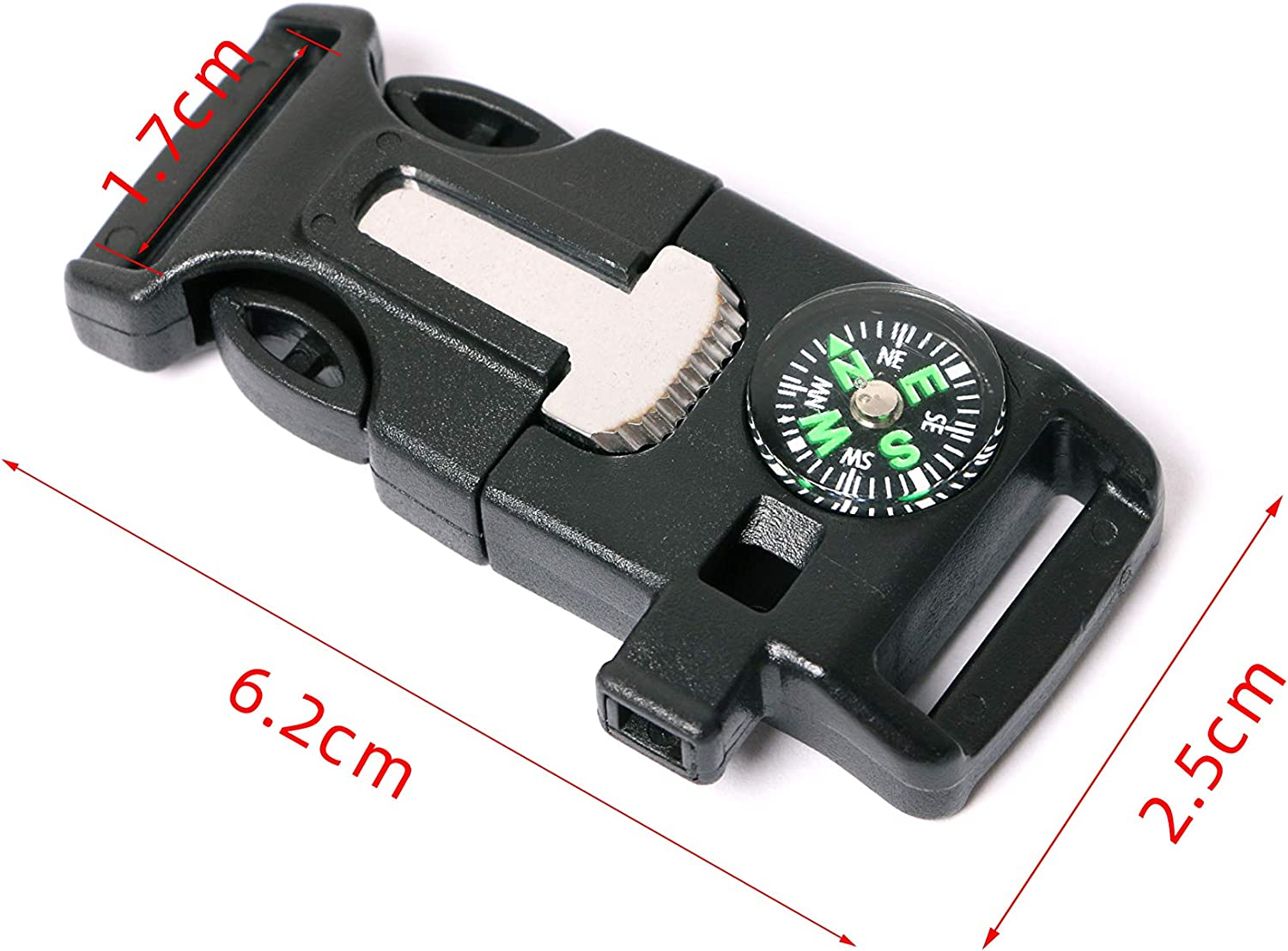 J-Chen 10 PCS Emergency Whistle Buckle Come with Compass Fire Starter Flint Scraper for Outdoor Camping Paracord Bracelet