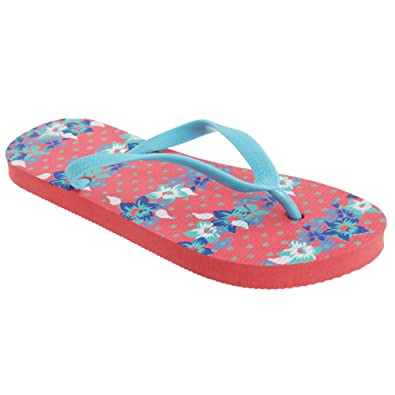 2f315abb129367 FLOSO® Womens Ladies Floral Patterned Toe Post Flip Flops (7-8 UK ...