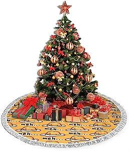 ULQUIEOR Gudetama Cute Christmas Tree Skirt Funny Tassel Xmas Ornaments Holiday Home Party Decoration 36 Inch
