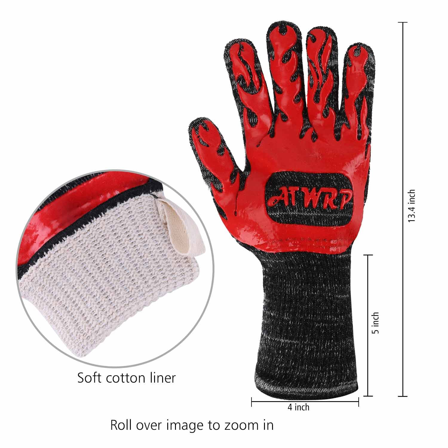 ATWRP FIREPROOF 932°F Extreme Heat Resistant BBQ Gloves by for Cooking Grilling Barbecue Charcoal Grill Smoker Tools Hot Ovens with Fingers Double Layered by ATWRP (Image #5)