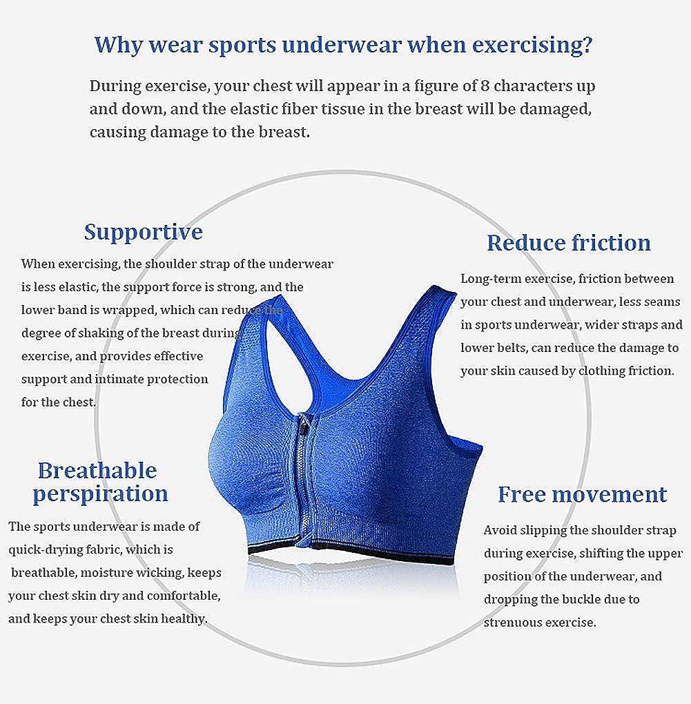 FULIER Sujetador Deportivo con Cremallera Frontal para Mujer Soporte Completo Sujetador de Yoga para Entrenamiento de Gimnasio sin Cables de Alto Impacto
