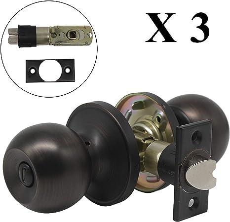 Oil Rubbed Bronze Round Ball Knob Door Lock Set Handle Entry Bed Bath Hardware