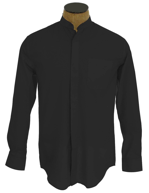 Purple dress black collarless shirt