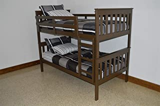 product image for Amish Kids Twin Over Twin Bunk Bed, Pine Wood, Coffee Brown Paint