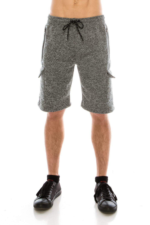 KlothesKnit Men's Classic Cargo Fleece Elastic Waist Sweat Shorts with Pockets Large Grey