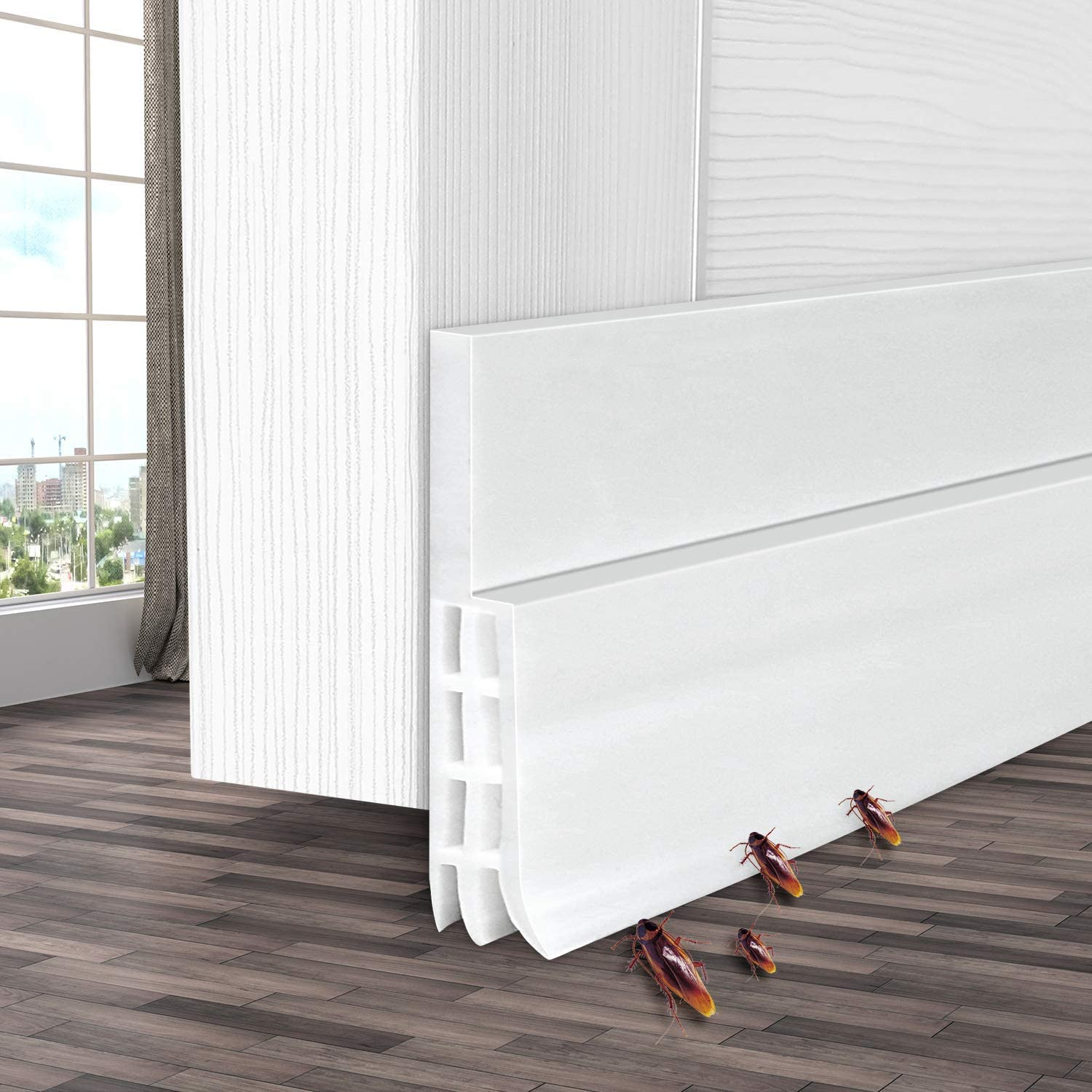 Under Door Draft Blocker Door Seal Strip 2 W x 39 L Sound Proof Door Strip Door Sweep Weather Stripping Noise Stopper White