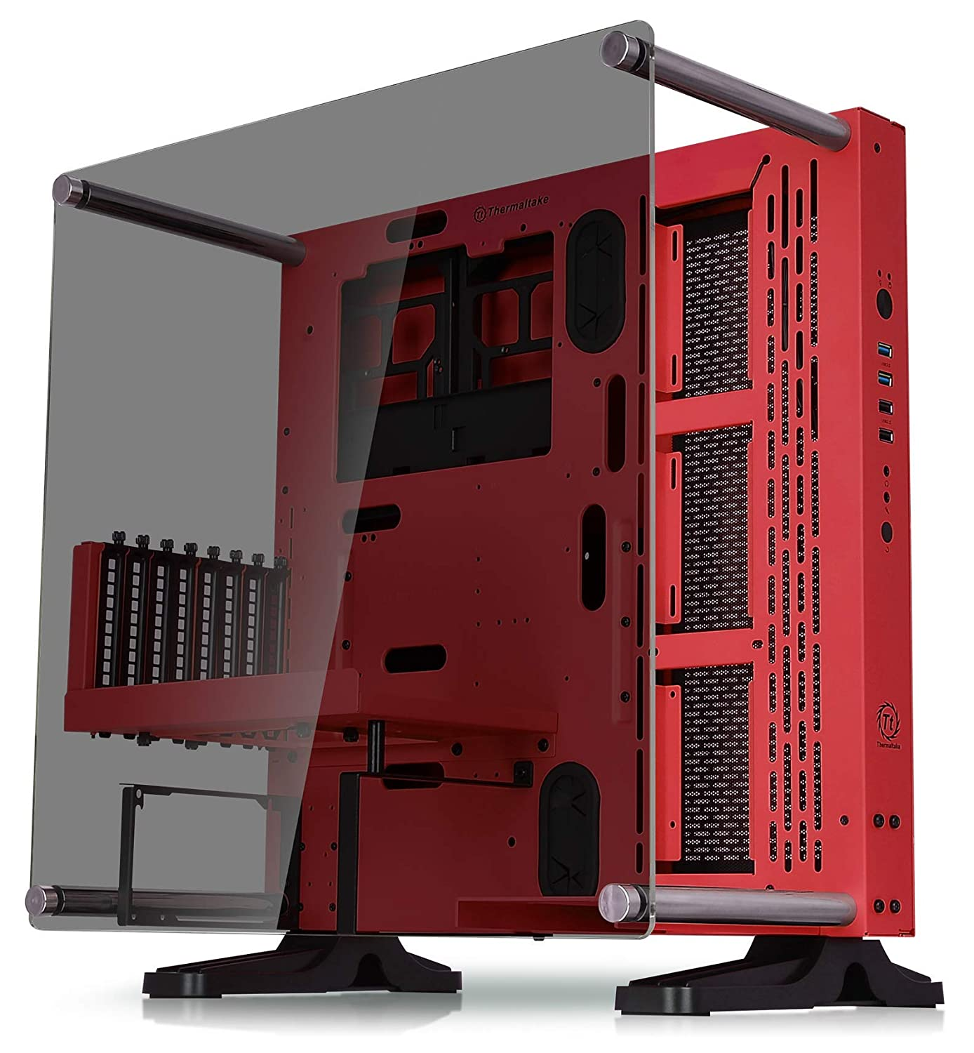 Thermaltake Core P3 ATX Tempered Glass Gaming Computer Case Chassis, Open Frame Panoramic Viewing, Glass Wall-Mount, Riser Cable Included, Snow Edition, CA-1G4-00M6WN-05