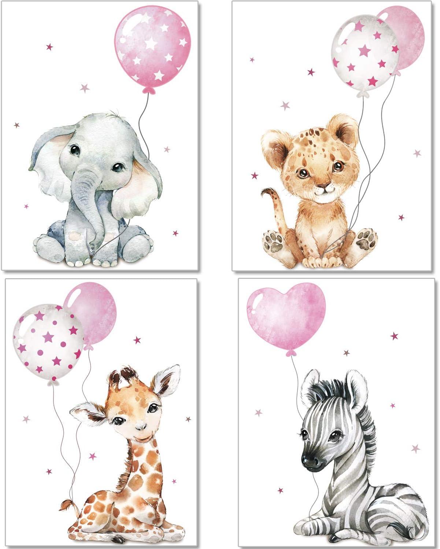 Artpin/® Lot de 6 posters d/écoratifs pour chambre /à coucher Motif coco Rose W2 Format A4