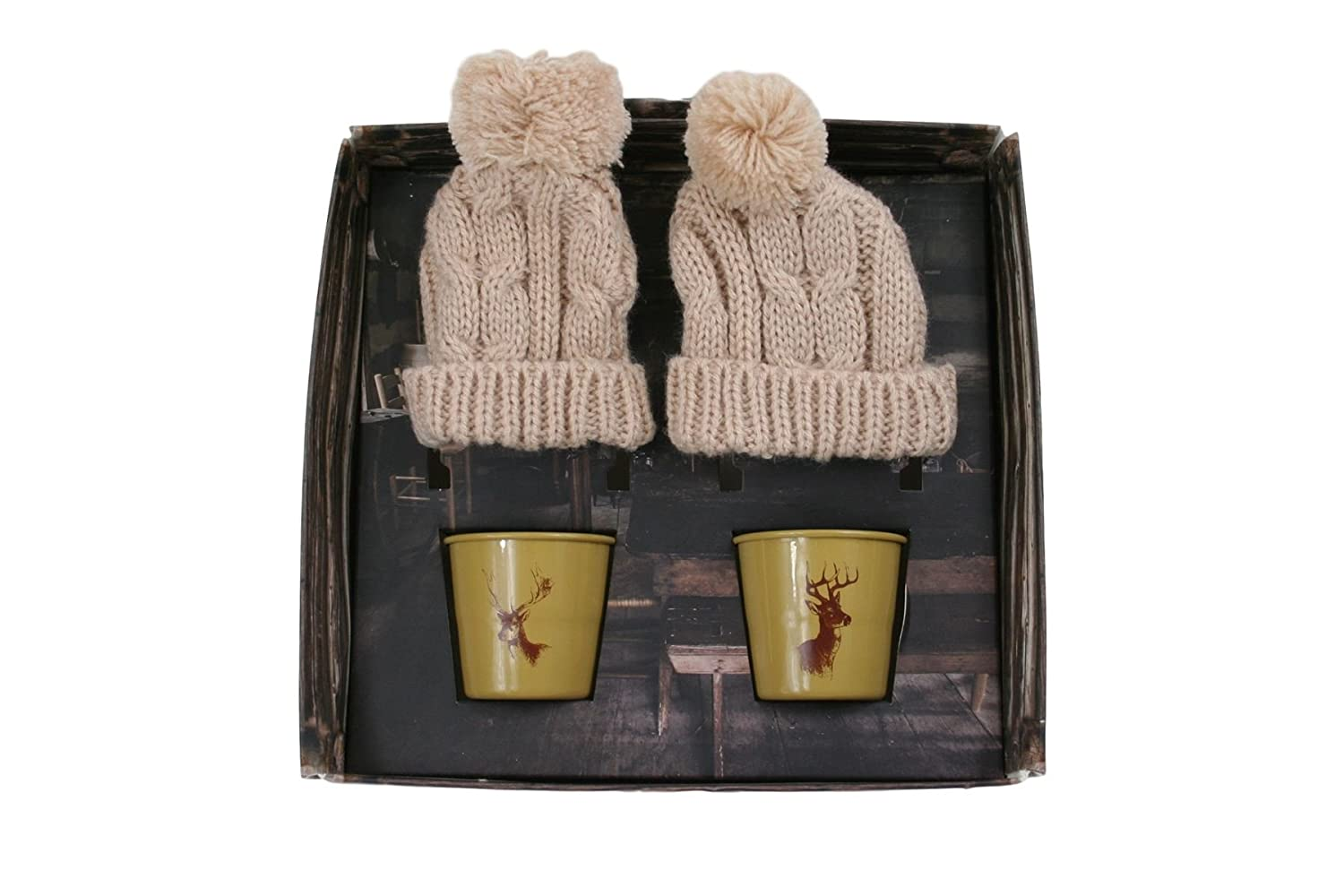 Eddingtons Set of 2 Cosy Up Stag Illustration Egg Cups and Cosies