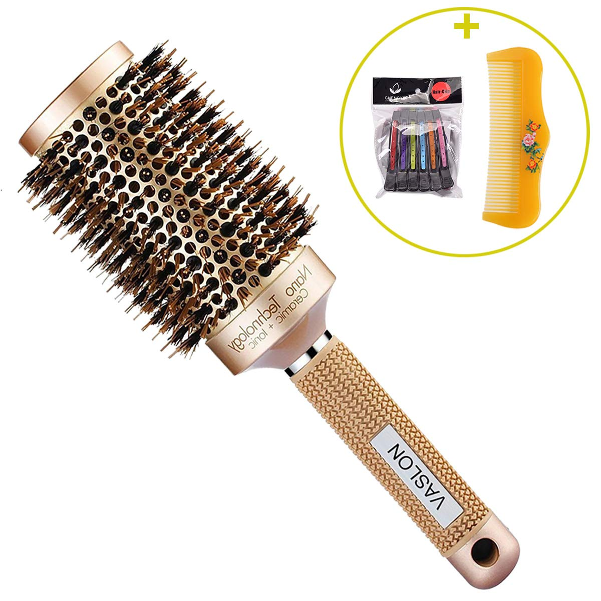 VASLON Professional Salon Round Barrel Hair Brush with Boar Bristle For Blow Drying, Curling & Straightening, Nano Thermal Ceramic & Ionic Brush(2 inch)