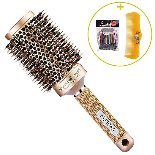 VASLON Professional Salon Round Barrel Hair Brush with Boar Bristle For Blow Drying, Curling & Straightening, Nano Thermal Ceramic & Ionic Brush(2 inch)