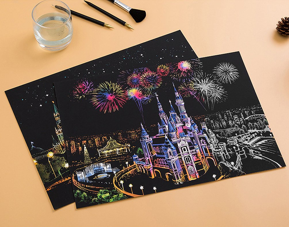 C-pop Scratch Art Paper DIY Night View Scratchboard for Adult and Kids,Four Series Size 11.2/'/'x16/'/'-Russian