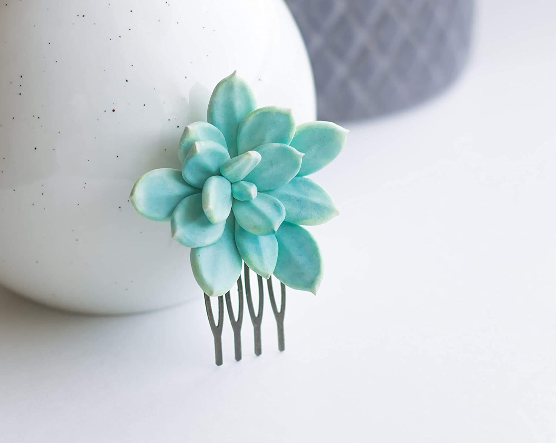 bridal wedding hair piece flower greenery botanical small tropical echeveria jewelry Succulent bridesmaid hair comb