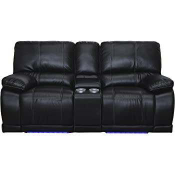 Captivating New Classic Electra Dual Recliner Console Loveseat, Mesa Black