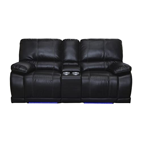 New Classic Electra Dual Recliner Console Loveseat, Mesa Black