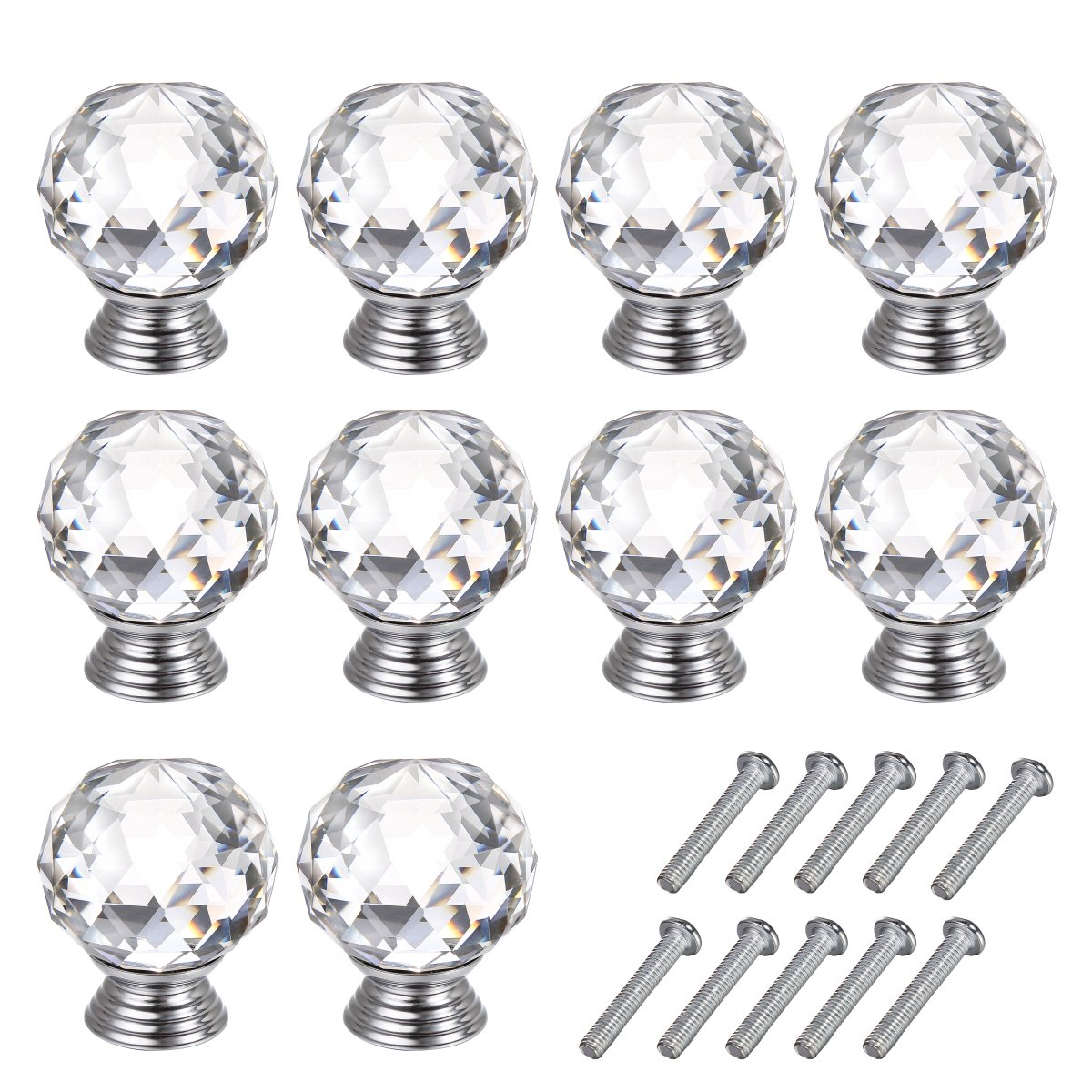 GBGS 10 Pcs Diam 30mm Round Crystal Glass Cabinet Knobs Drawer Pull Furniture Handle OTTFF LS001-W-x10