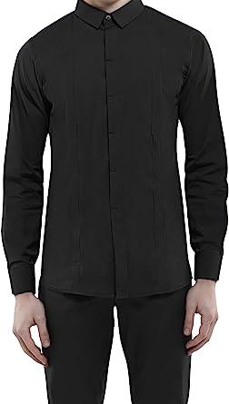 DonandMerit Camisa Negra con Bolsillos Ocultos para Hombre. 5 Bolsillos con Cremallera para el Móvil, Cartera y Pasaporte - para el Viaje o Cada día. Camisa Casual de Manga Larga, Algodón/Elastán: Amazon.es: