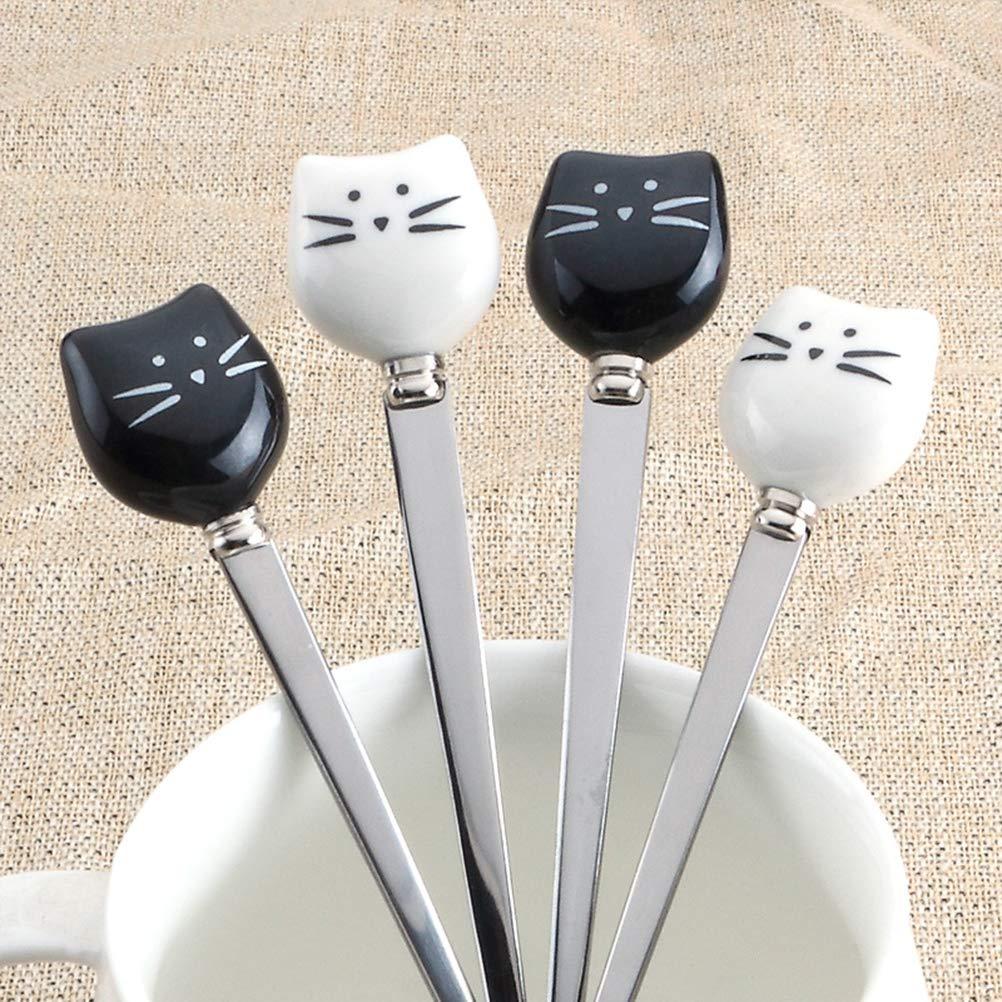 bianco e nero BESTONZON Forchette per frutta in acciaio inox 2 pezzi Forchette per frutta in acciaio per gatti
