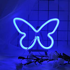 ENUOLI Butterfly Neon Signs LED Butterfly Neon Light for Bedroom Blue Neon Signs Light for Wall Decor LED Neon Night Lights for Kids Living Room Birthday Wedding Party New Year Home Decor (Blue)