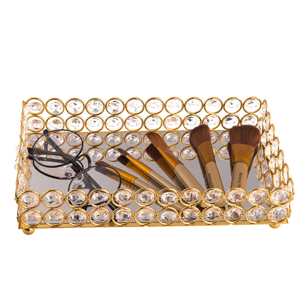 Feyarl Crystal Beads Cosmetic Tray Rectangle Jewelry Organizer Tray Mirrored Decorative Tray (Gold)