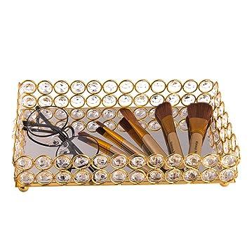 feyarl cristal cosméticos bandeja Rectangular organizador de joyas bandeja con espejo decorativo bandeja (oro): Amazon.es: Hogar