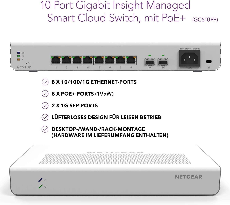 Netgear Gc510pp 10 Port Gigabit Ethernet Lan Poe Switch Computer Zubehör