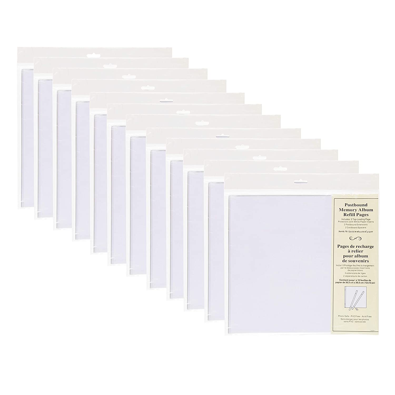 DesignOvation Postbound 12x12 Memory Scrapbook Refill Pages 5 Pack, Set of 12 Uniek 211300