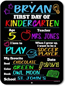 Honey Dew Gifts Chalkboard Style School Photo Prop Board, Kindergarten, Preschool, Reusable Tin Sign (First Day HDG-1115 9x12)