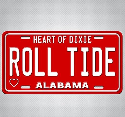 Alabama Roll Tide Crimson Tide Metal License Plate Wall Tag