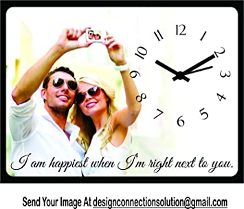 Design Connection Birthday/Anniversary Gift Table Clock- Gift for Girlfriend, Boyfriend, Husband, Wife, Mom, Dad, customised/Personalized (8x6 inch)