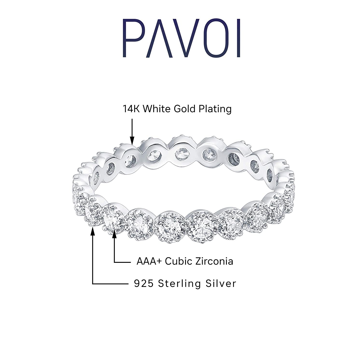 Marquise Milgrain Eternity Bands PAVOI 14K Gold Plated Sterling Silver Rings Cubic Zirconia Band Gold Rings for Women