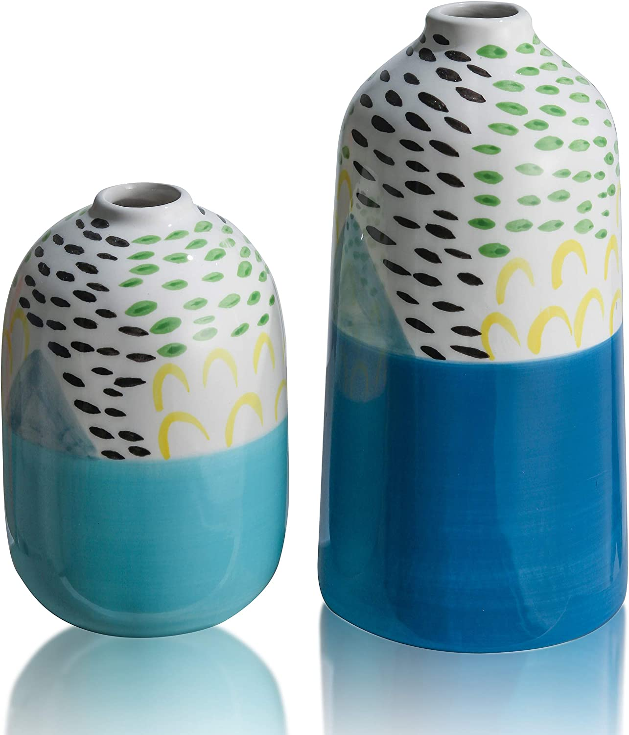 TERESA'S COLLECTIONS Ceramic Colorful Vase, Blue and White Small Abstract Decorative Vases for Home Decor, Mantel, Table, Living Room, Office Decoration-Set of 2