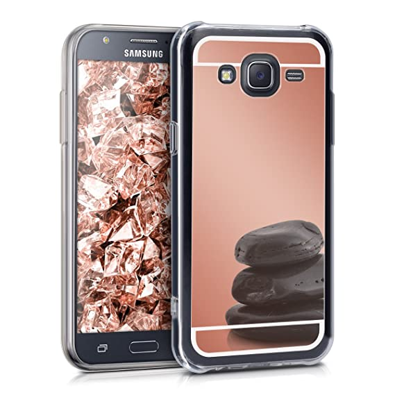 pretty nice 9c255 fe1d8 kwmobile Mirror Case for Samsung Galaxy J5 (2015) - TPU Silicone Bumper  Protective Cover Reflective Back Case - Rose Gold Reflective