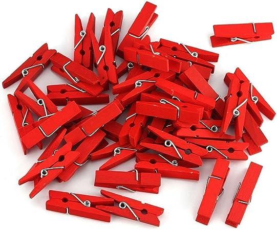 BUONDAC 100 pz 3.5cm Mini Mollette Legno Mollettine Rosse Decorative per Foto Biglietti Scrapbooking Matrimonio Natale Festa