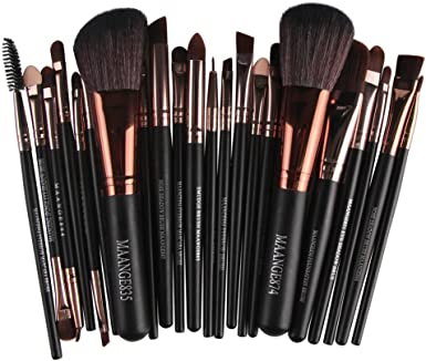 POLP Kit de Brochas Maquillaje 22Piezas Sets de Brochas para Maquillaje Facial Rostro Sombras de Ojos Labios Polvos Difuminar Iluminador Colorete (Negro, A1): Amazon.es: Ropa y accesorios