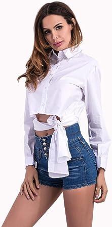 Blusas Y Camisas para Mujer Cola De Golondrina De Cintura Corta Y Larga Delantera@Blanco_X: Amazon.es: Ropa y accesorios