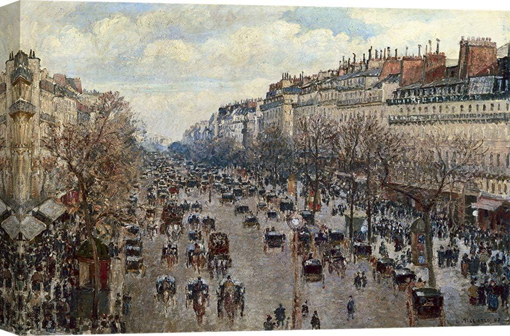 Art Print Cafe – Cuadro – Impresion sobre Lienzo - Camille Pissarro, Boulevard Monmartre à Paris – 70x50 cm